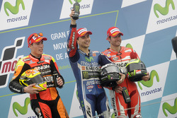 Podium: race winner Jorge Lorenzo, second place Aleix Espargaro, third place Cal Crutchlow