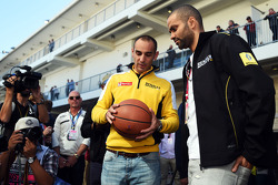 (L to R): Cyril Abiteboul, Renault Sport F1 Managing Director with Tony Parker, NBA Basketball Player