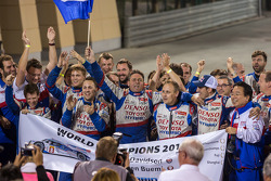 Anthony Davidson and Sébastien Buemi celebrate winning the WEC 2014 Championship