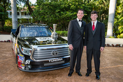 NASCAR Camping World Truck Series champion owner Kyle Busch with Erik Jones