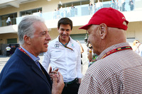 (L to R): Piero Ferrari, Ferrari Vice-President with Toto Wolff, Mercedes AMG F1 Shareholder and Executive Director and Niki Lauda, Mercedes Non-Executive Chairman
