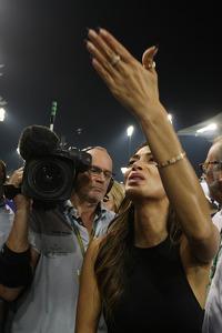 Nicole Scherzinger, Singer, girlfriend of Lewis Hamilton, Mercedes AMG F1, celebrates in parc ferme
