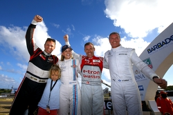 Winners Tom Kristensen and Petter Solberg, second place Susie Wolff and David Coulthard