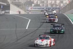 #12 Fach Auto Tech Porsche 997 GT3 R: Otto Klohs, Martin Ragginger, Jens Richter, Sven Müller leads #2 Black Falcon Mercedes SLS AMG GT3: Abdulaziz Al Faisal, Hubert Haupt, Yelmer Buurman, Oliver Webb