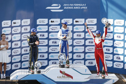 Podium: race winner Antonio Felix da Costa, second place Nicolas Prost, third place Nelson Piquet Jr.