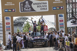 Car category podium: winners Nasser Al-Attiyah, Mathieu Baumel