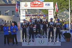Podium: second place Jari-Matti Latvala, Miikka Anttila, winners Sébastien Ogier,  Julien Ingrassia, third place Andreas Mikkelsen and Ola Floene