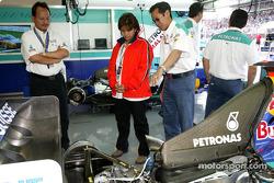 VIP guests in Sauber garage area