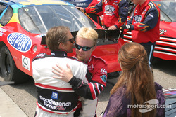 Barry Pepper as Dale Earnhardt, Chad McCumbee as Dale Earnhardt Jr., and Elizabeth Mitchell as Teresa Earnhardt