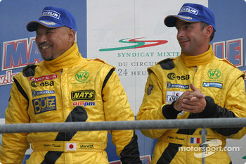 LM P2 podium: Yojiro Terada and Patrice Roussel celebrate