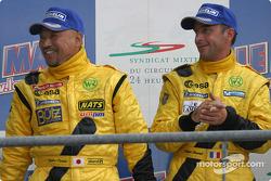 LM P2 podium: Yojiro Terada and Patrice Roussel celebrate