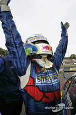Australian V8 Supercar Series 2004 champion Marcos Ambrose celebrates