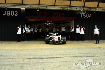 Jenson Button leaves the garage