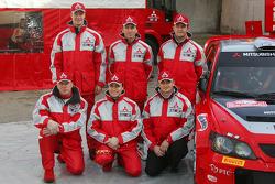 Mitsubishi Motors Motor Sports presentation: Harri Rovanpera, Risto Pietilainen, Gilles Panizzi, Hervé Panizzi, Gianluigi Galli and Guido D'Amore