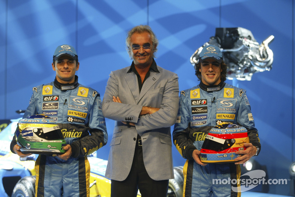 Giancarlo Fisichella, Flavio Briatore and Fernando Alonso