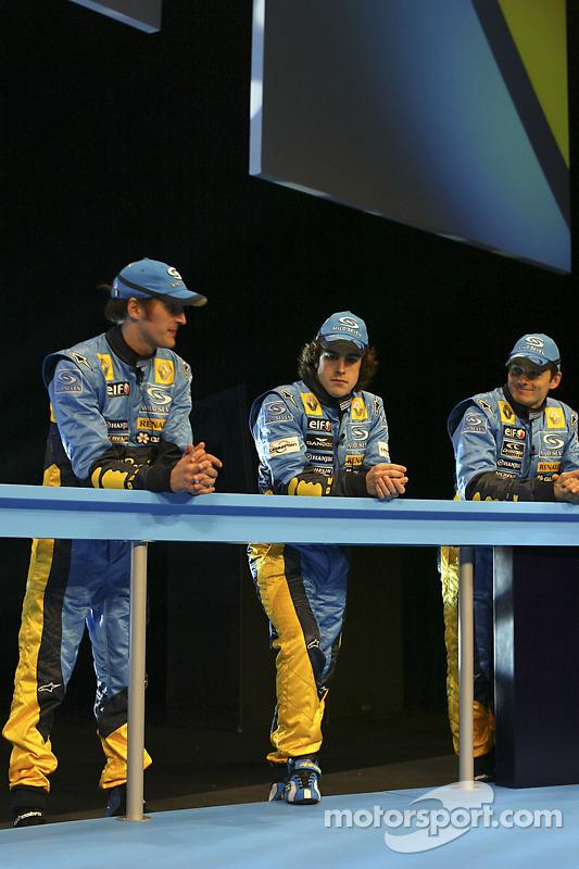 Franck Montagny, Fernando Alonso and Giancarlo Fisichella