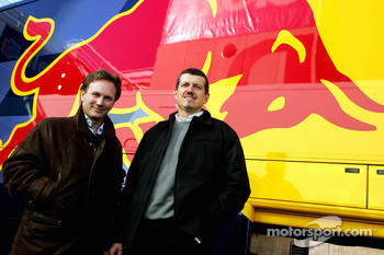 Sporting director Christian Horner and technical director Guenther Steiner
