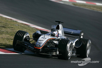 Juan Pablo Montoya tests the new McLaren Mercedes MP4-20