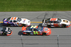 Start: Dale Jarrett leads Jeff Gordon and Jason Leffler