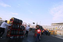 Crew head to pit area