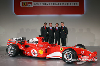 Marc Gene, Rubens Barrichello, Luca Badoer and Michael Schumacher with the new Ferrrari F2005