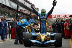 Race winner Giancarlo Fisichella celebrates