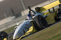 A.J. Allmendinger tests the unpainted Rusport Lola