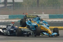 Accident between Giancarlo Fisichella and Mark Webber