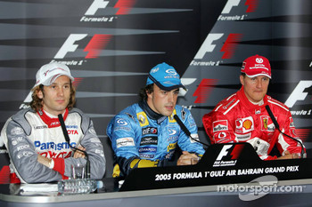 FIA Saturday press conference: provisional pole winner Fernando Alonso with Jarno Trulli and Michael Schumacher