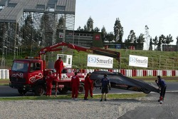 David Coulthard's Red Bull Racing car back on tow truck