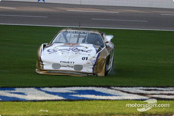 Scott Pruett drives back to the pit lane