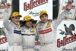 Podium: race winner Jean Alesi with Gary Paffett and Bernd Schneider