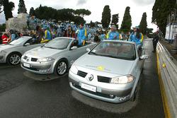 Franck Montagny, Giancarlo Fisichella and Flavio Briatore