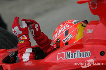 Michael Schumacher arrives in Parc Fermé