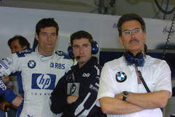 Mark Webber, Xevi Pojolar and Dr Mario Theissen