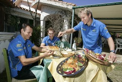 Stephane Sarrazin, Chris Atkinson and Petter Solberg have lunch