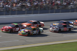 Jeremy Mayfield and Elliott Sadler lead a group of cars