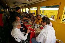 Bernie Ecclestone has lunch at the Jordan hospitality area