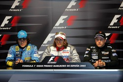 Saturday press conference: pole winner Jarno Trulli with Fernando Alonso and Kimi Raikkonen