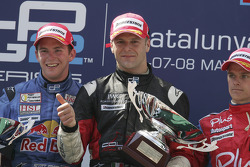 Podium: race winner Gianmaria Bruni with Scott Speed and Heikki Kovalainen
