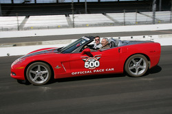 General Colin Powell takes practice laps around Indianapolis Motor Speedway in the Chevrolet Corvette Convertible 2005 Indianapolis 500 Pace Car