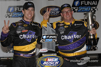 Victory lane: race winner Carl Edwards celebrates with Brad Parrott