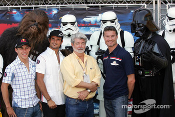 Christian Klien, Chewbacca, Vitantonio Liuzzi, David Coulthard, George Lucas and Darth Vader