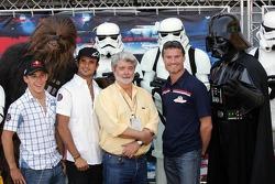 Christian Klien, Chewbacca, Vitantonio Liuzzi, David Coulthard, George Lucas and Darth Vader