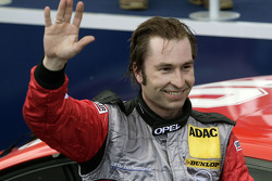 Heinz-Harald Frentzen celebrates podium finish