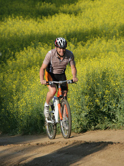 Tom Kristensen on a mountain bike