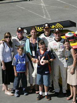 Johnny O'Connell, Ron Fellows and Max Papis with families