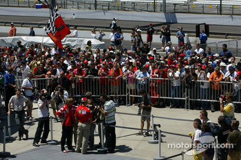 Michael Schumacher interviewed in front of the fans