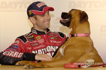 NASCAR pets calendar press conference: Greg Biffle with his dog Foster