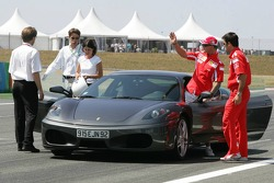 Michael Schumacher does a demo lap in a Ferrari